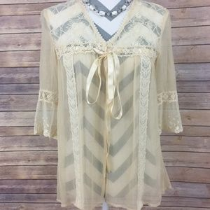 Free People Lace Top Cream Size Small Womens